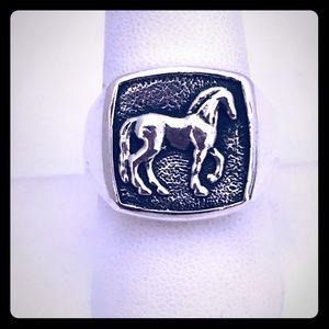 David Yurman 9 Silver Horse Petrvs Signet Ring EUC